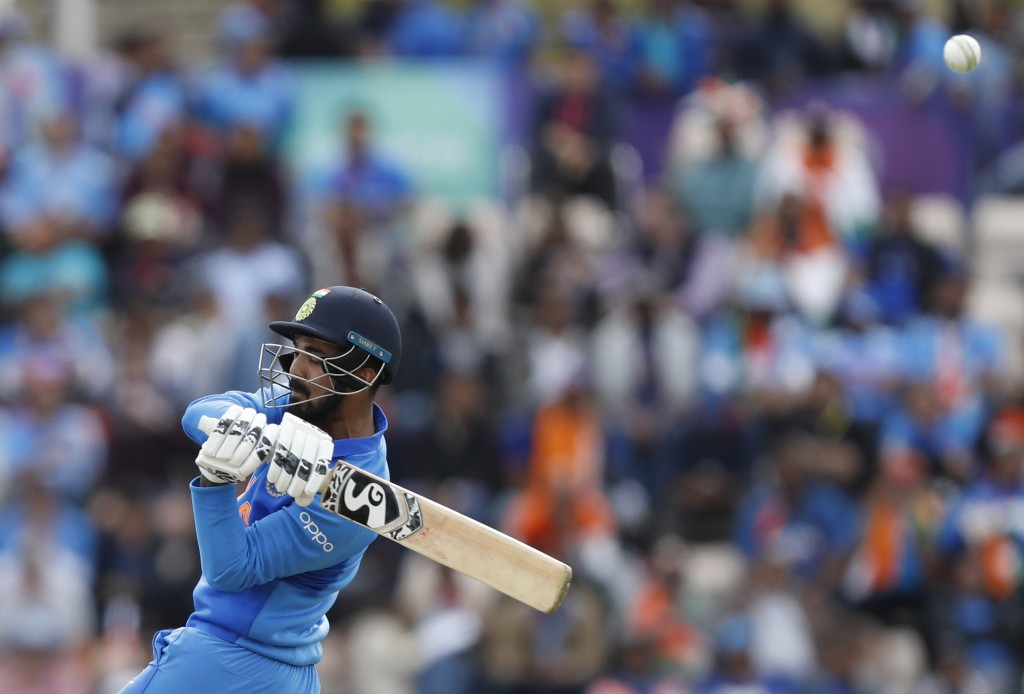 India's K.L. Rahul attempts to play a short ball from South Africa's Chris Morris during their Cricket World Cup match between South Africa and India