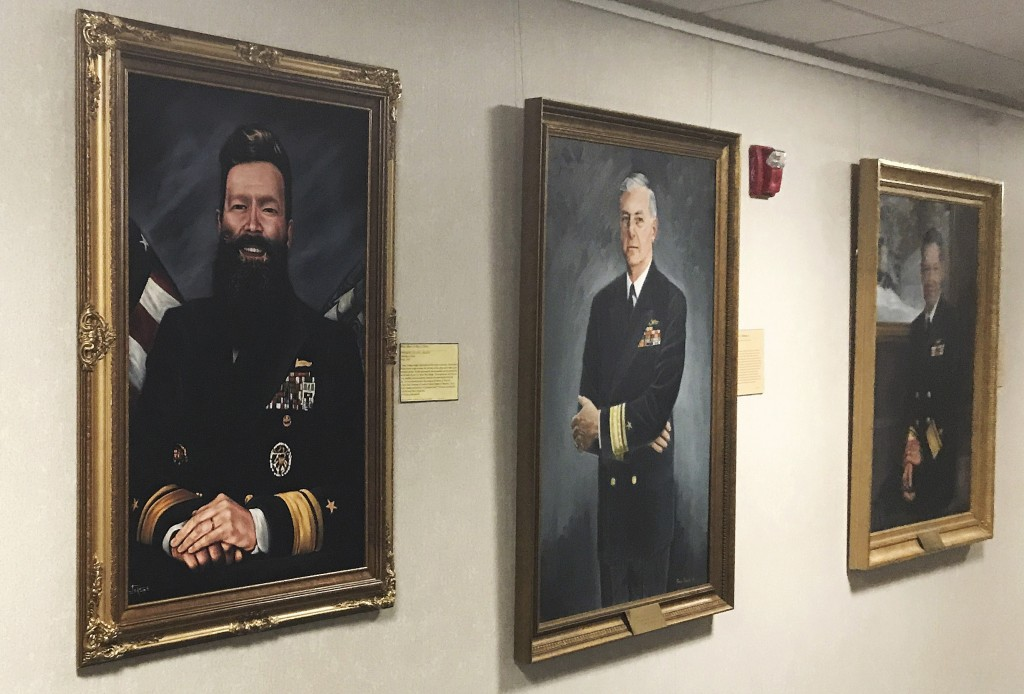 CORRECTION: TAKES OUT REFERENCE OF OFFICIAL ARTIST'S PORTRAIT ADDS INFORMATION ABOUT PORTRAIT:  This May 2019 photo provided by U.S. Naval War College