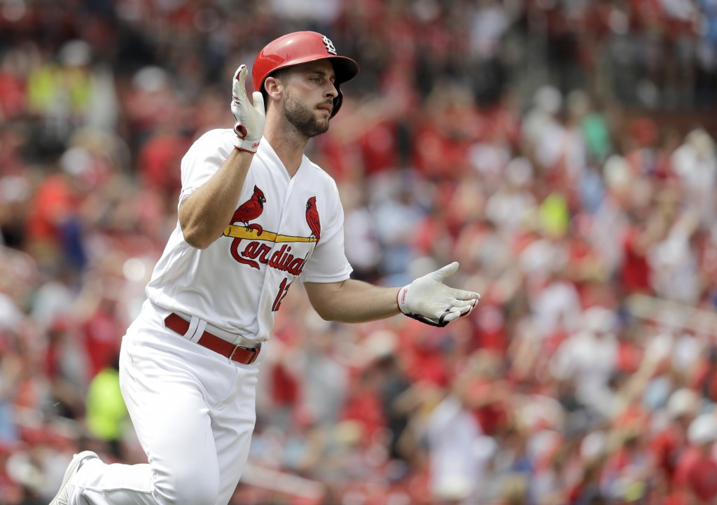 St. Louis Cardinals' Paul DeJong celebrates as he rounds the bases after hitting a two-run home run during the seventh inning of a baseball game again