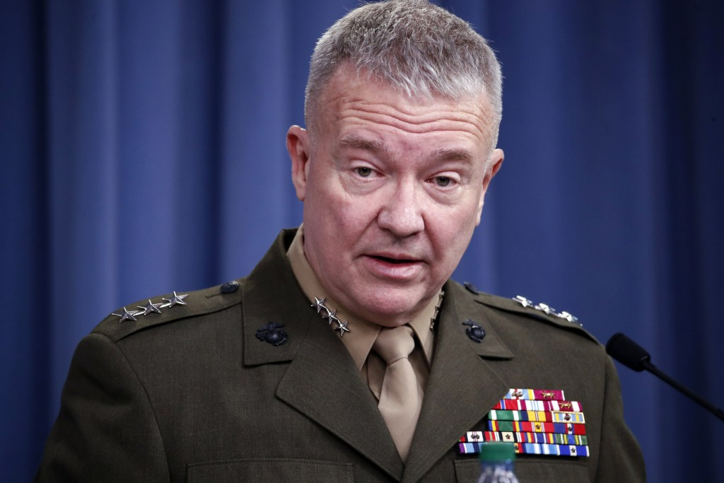 """FILE - In this April1 14, 2018, file photo, then-Marine Lt. Gen. Kenneth """"Frank"""" McKenzie speaks during a media availability at the Pentagon in Washin..."""