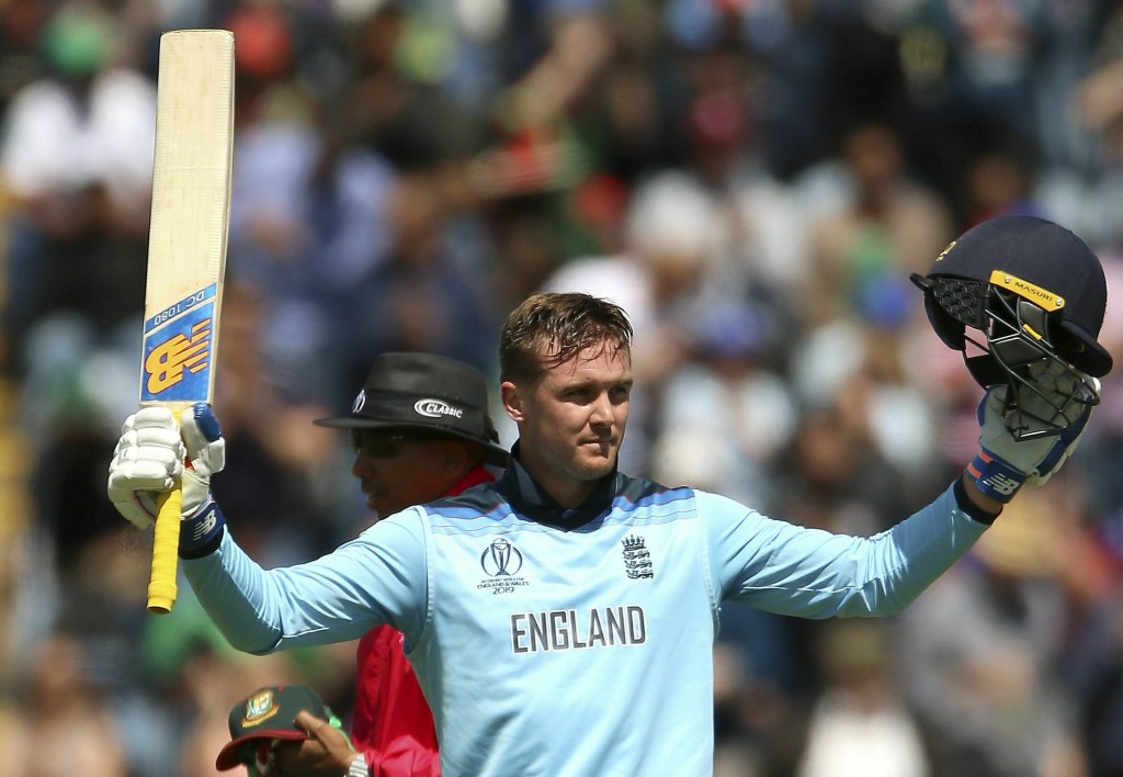 England's Jason Roy celebrates hitting a century  during the ICC Cricket World Cup group stage match between England and Bangladesh at the Cardiff Wal...