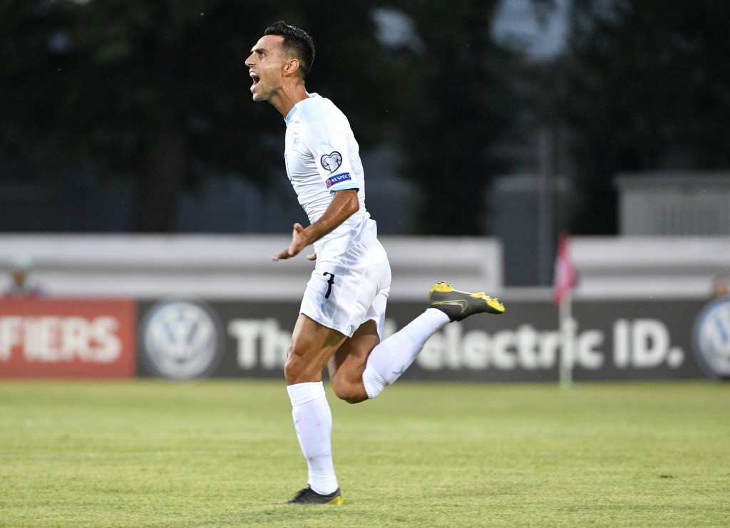 Israel's Eran Zahavi celebrates after he scored goal during their Euro 2020 group G qualifying soccer match between Latvia and Israel in Riga, Latvia,...