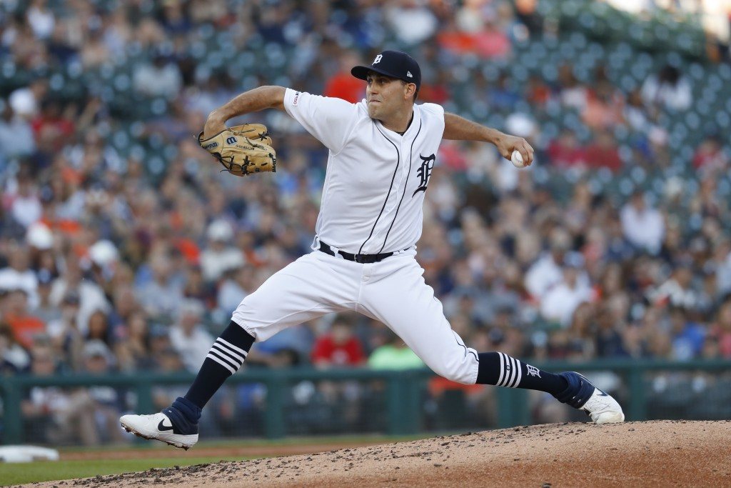 Detroit Tigers pitcher Matthew Boyd throws in the third inning of a baseball game against the Minnesota Twins in Detroit, Friday, June 7, 2019. (AP Ph