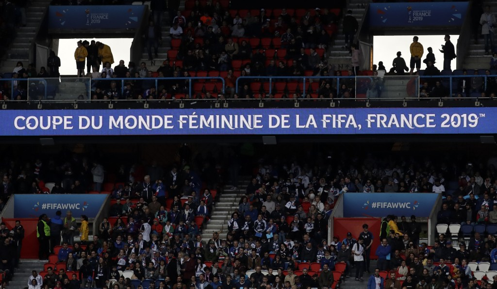 Fans wait for the start of the Women's World Cup Group A soccer match between France and South Korea at the Parc des Princes in Paris, Friday, June 7,...