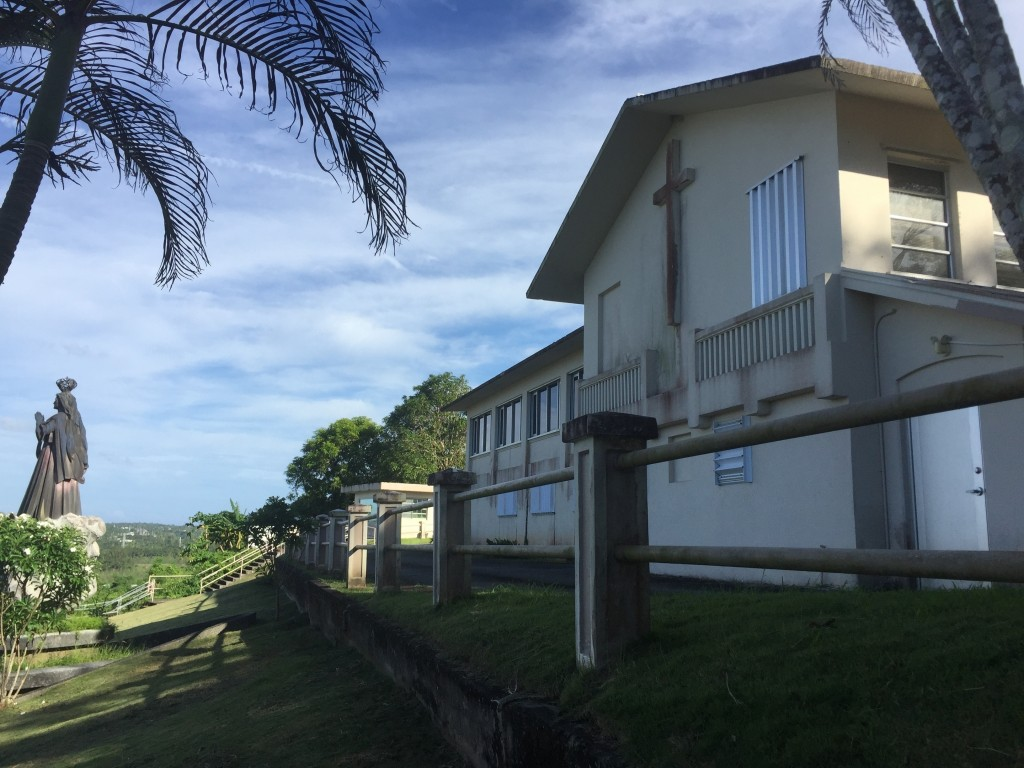 FILE - This Nov. 7, 2018, file photo, shows the residence and office of the Archbishop of Agana in Guam. No doctors are willing to perform abortions i