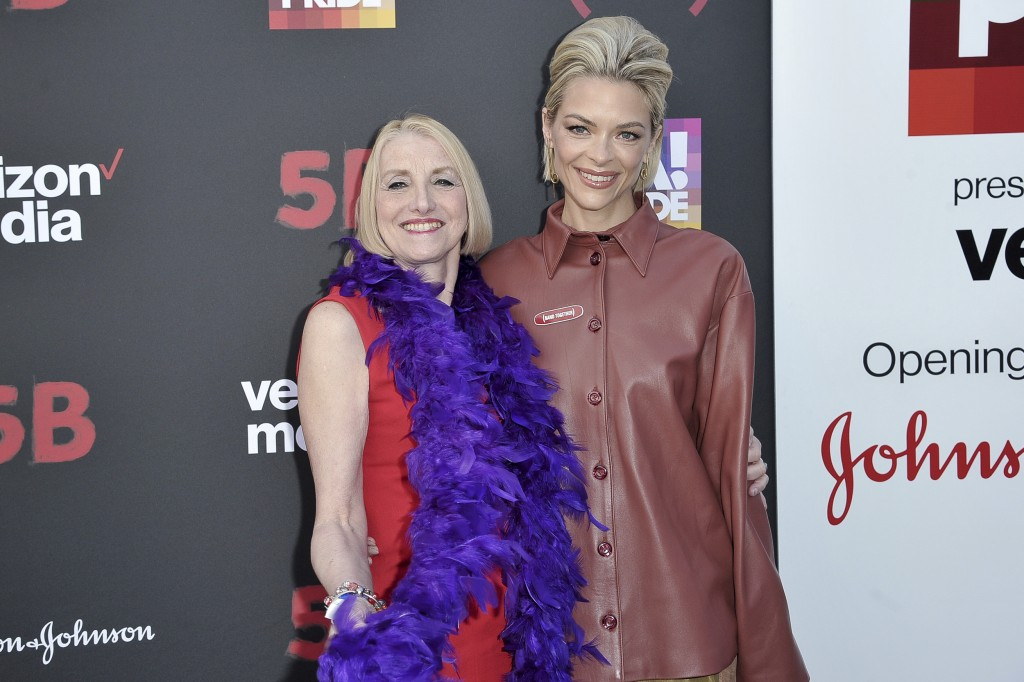 "Rita Rockett, left, and Jaime King attend the U.S. premiere of the documentary Film ""5B"" during the opening night of LA Pride Festival on Friday, June"