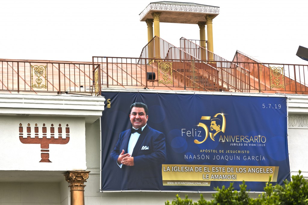 Mexico-based megachurch La Luz del Mundo, leader and self-proclaimed apostle Naasón Joaquín García's 50 birthday celebration portrait, is displayed on