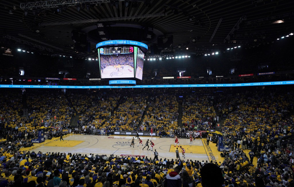 A general view of Oracle Arena during the first half of Game 4 of basketball's NBA Finals between the Golden State Warriors and the Toronto Raptors in...