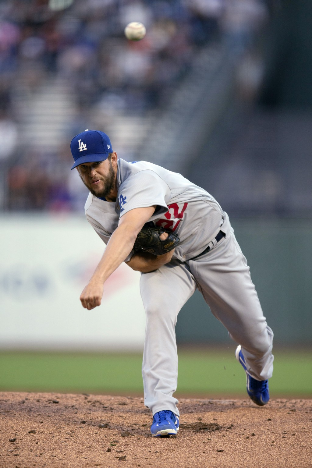 Los Angeles Dodgers starting pitcher Clayton Kershaw delivers to a San Francisco Giants batter during the first inning of a baseball game Friday, June