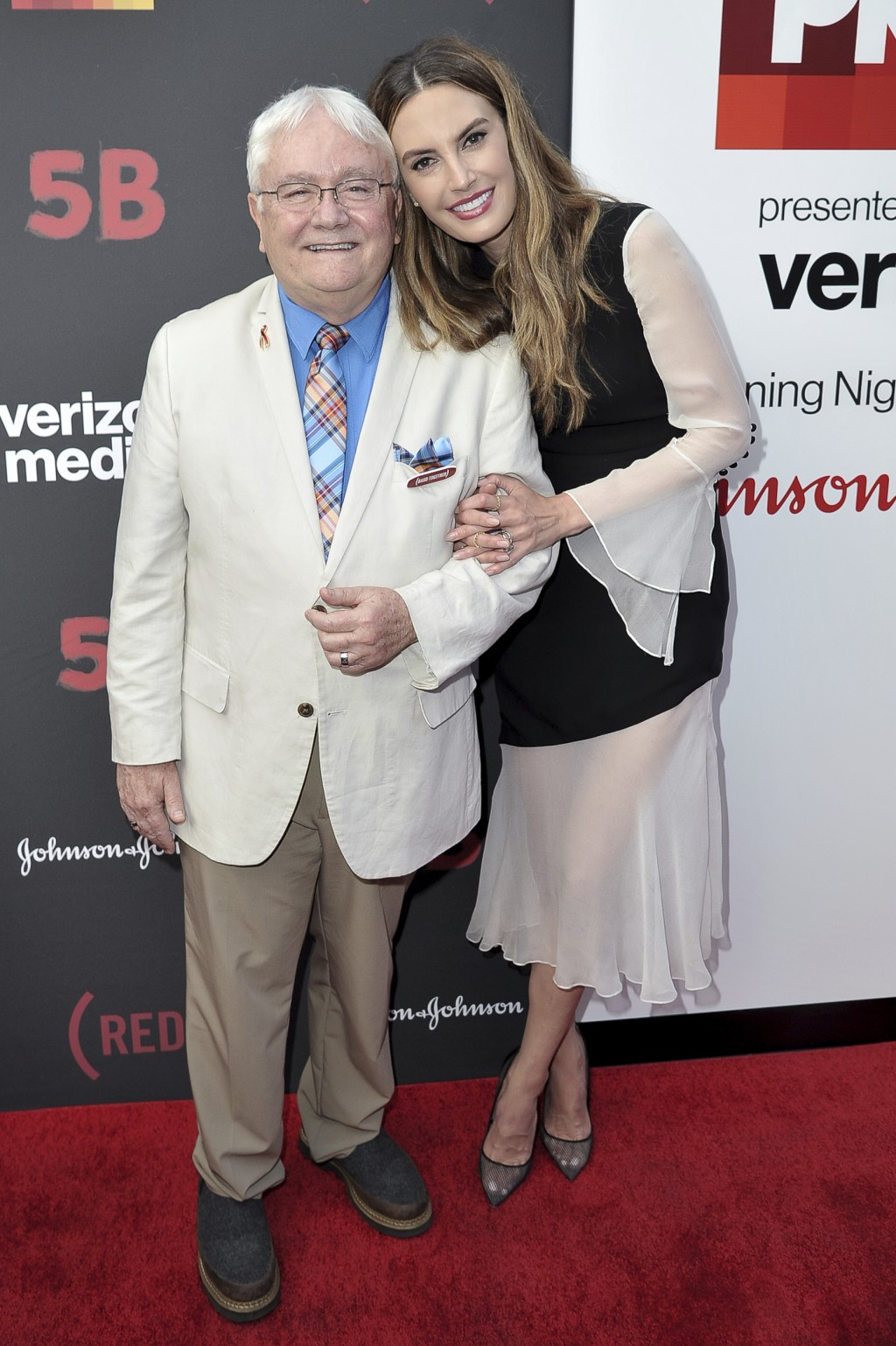 "Cliff Morrison, left, and Elizabeth Chambers attend the U.S. premiere of the documentary Film ""5B"" during the opening night of LA Pride Festival on Fr"