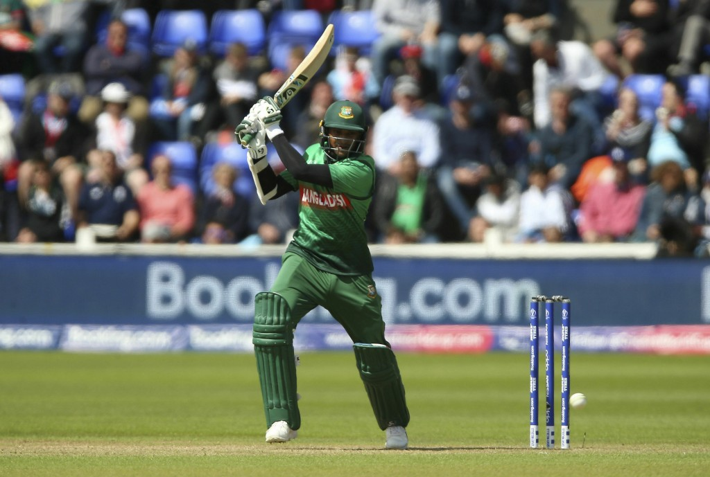 Bangladesh's Shakib Al Hasan in action during the ICC Cricket World Cup group stage match between England and Bangladesh at the Cardiff Wales Stadium ...