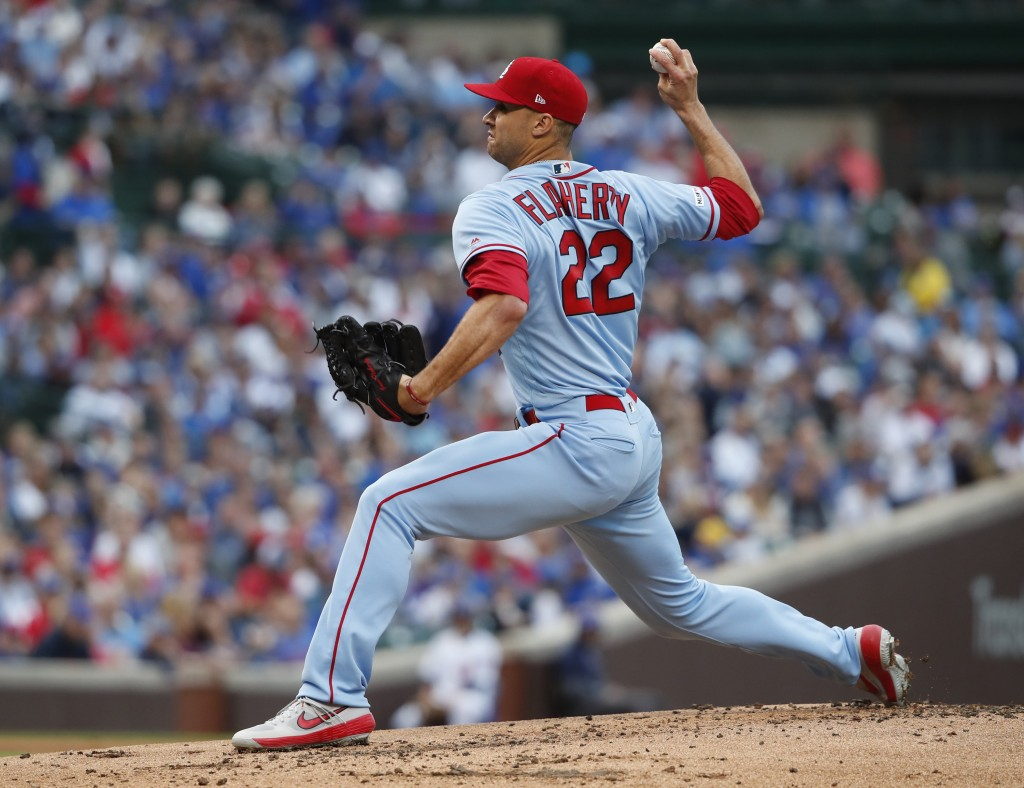 St. Louis Cardinals starting pitcher Jack Flaherty delivers during the first inning of a baseball game against the Chicago Cubs, Saturday, June 8, 201...