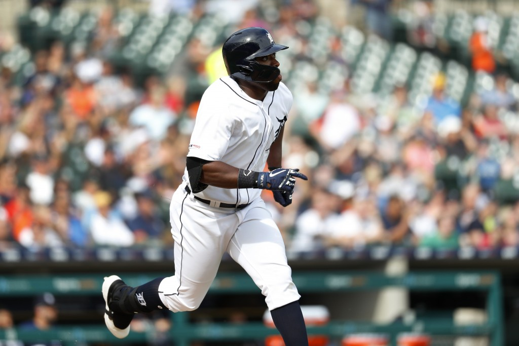 Detroit Tigers' Christin Stewart watches his solo home run in the third inning of a baseball game against the Minnesota Twins in Detroit, Saturday, Ju