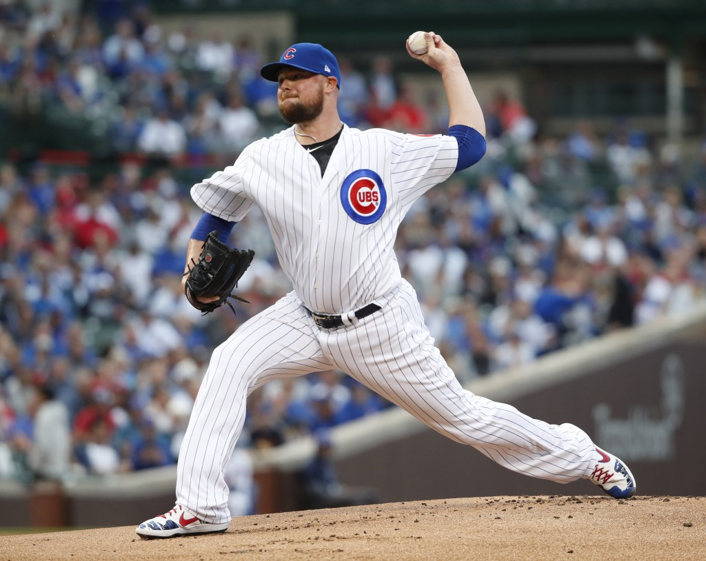 Chicago Cubs starting pitcher Jon Lester delivers during the first inning of a baseball game against the St. Louis Cardinals, Saturday, June 8, 2019, ...