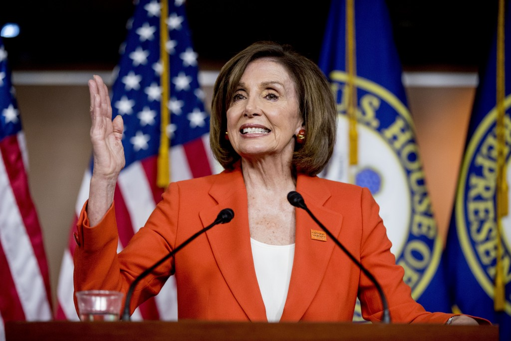 "In this June 5, 2019, photo, House Speaker Nancy Pelosi of Calif., speaks at the Capitol in Washington. President Donald Trump says it's ""case closed,"