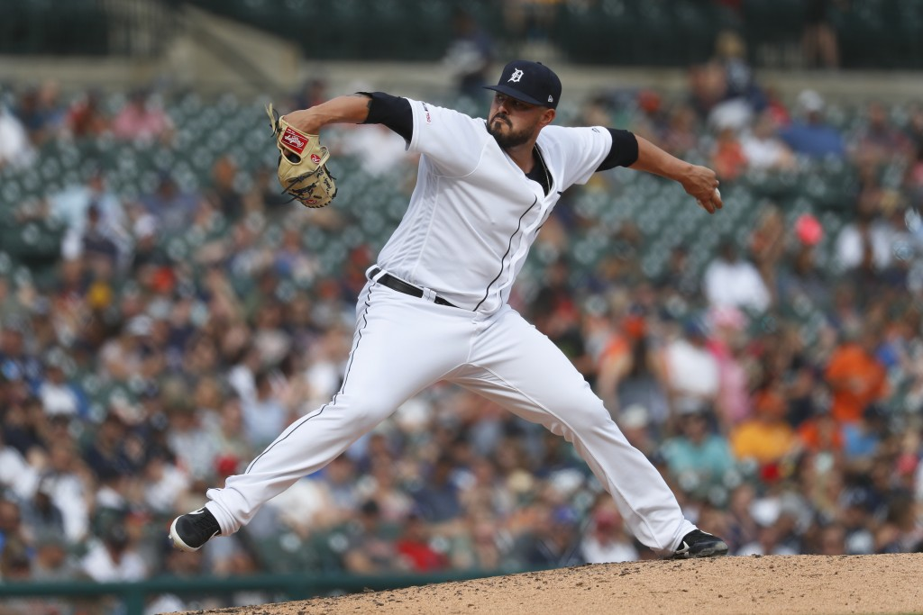 Detroit Tigers pitcher Nick Ramirez throws in the fourth inning of a baseball game against the Minnesota Twins in Detroit, Saturday, June 8, 2019. (AP