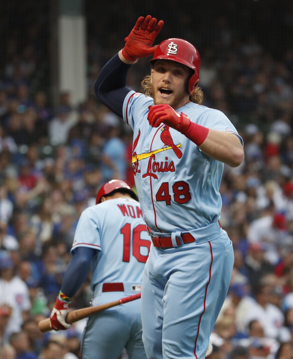 St. Louis Cardinals' Harrison Bader celebrates after hitting a solo home run against the Chicago Cubs during the first inning of a baseball game Satur...