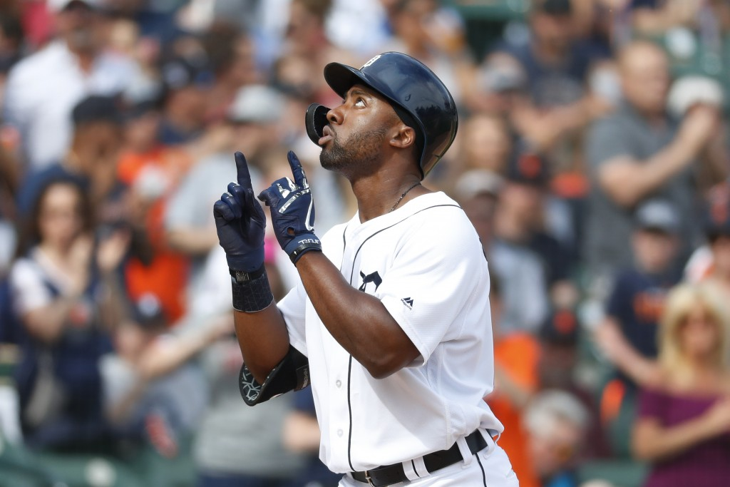 Detroit Tigers' Christin Stewart celebrates his solo home run in the third inning of a baseball game against the Minnesota Twins in Detroit, Saturday,