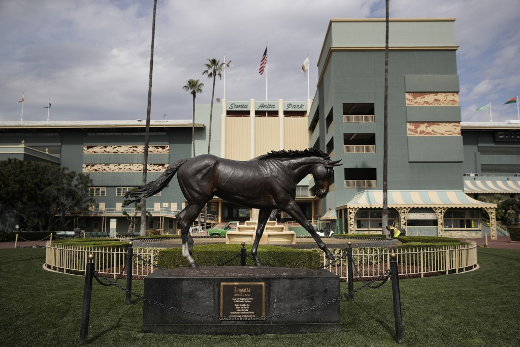 FILE - In this March 5, 2019, file photo, a statue of Zenyatta stands in the paddock gardens area at Santa Anita Park in Arcadia, Calif. A second hors