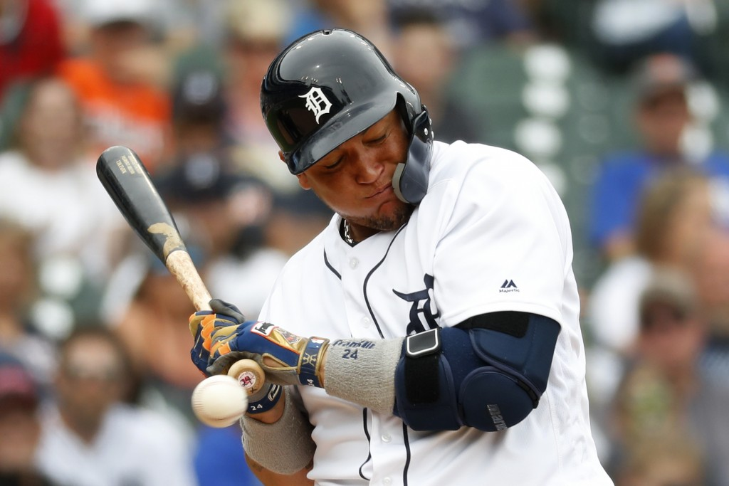 Detroit Tigers' Miguel Cabrera is hit by a pitch from Minnesota Twins' Jake Odorizzi in the sixth inning of a baseball game in Detroit, Sunday, June 9