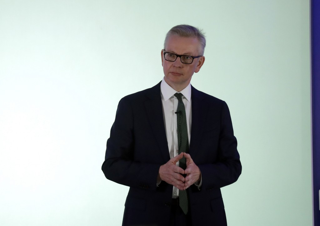 Britain's Environment Secretary Michael Gove launches his leadership campaign for the Conservative Party in London, Monday June 10, 2019. British Prim...