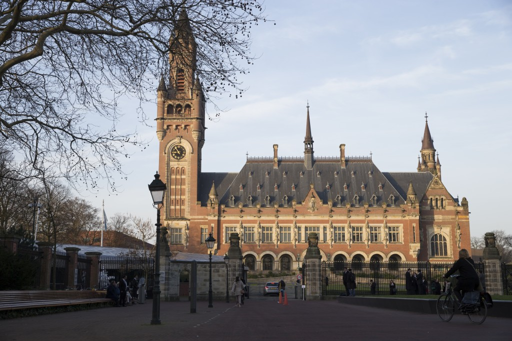 FILE - This Monday, Feb. 18, 2019 file photo shows an exterior view of the Peace Palace, which houses the International Court of Justice, or World Cou
