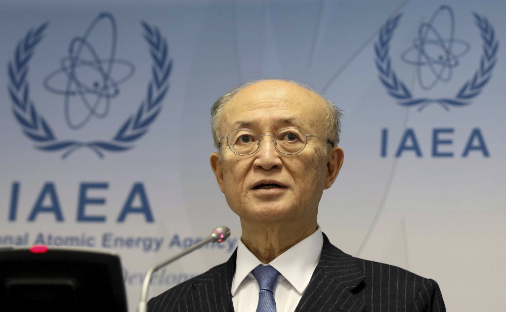In this Thursday, Nov. 22, 2018, file photo, director General of the International Atomic Energy Agency, IAEA, Yukiya Amano of Japan, addresses the me...