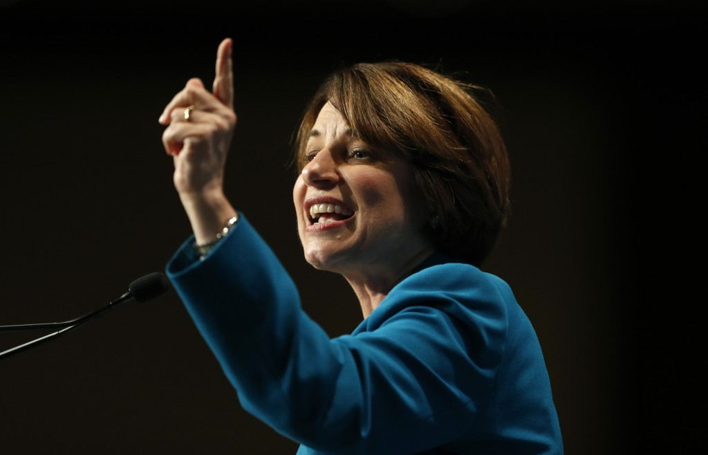 Democratic presidential candidate Amy Klobuchar speaks during the Iowa Democratic Party's Hall of Fame Celebration, Sunday, June 9, 2019, in Cedar Rap