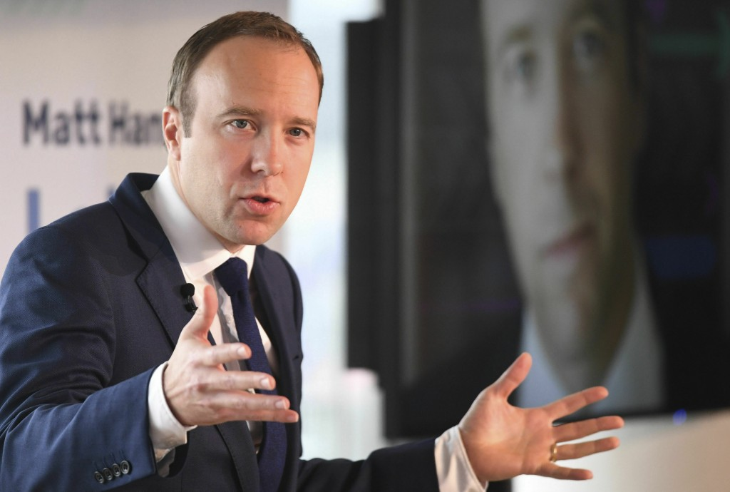 Britain's Health Secretary Matt Hancock launches his campaign in the race to become Britain's next Conservative Party leader and prime minister, in ce