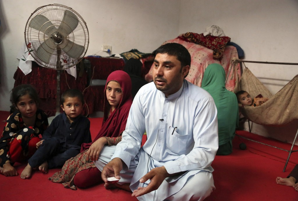 In this Thursday, May 30, 2019 photo, Farmanullah Shirzad who fled his village in Nangarhar province with his family in late April as Islamic State gr