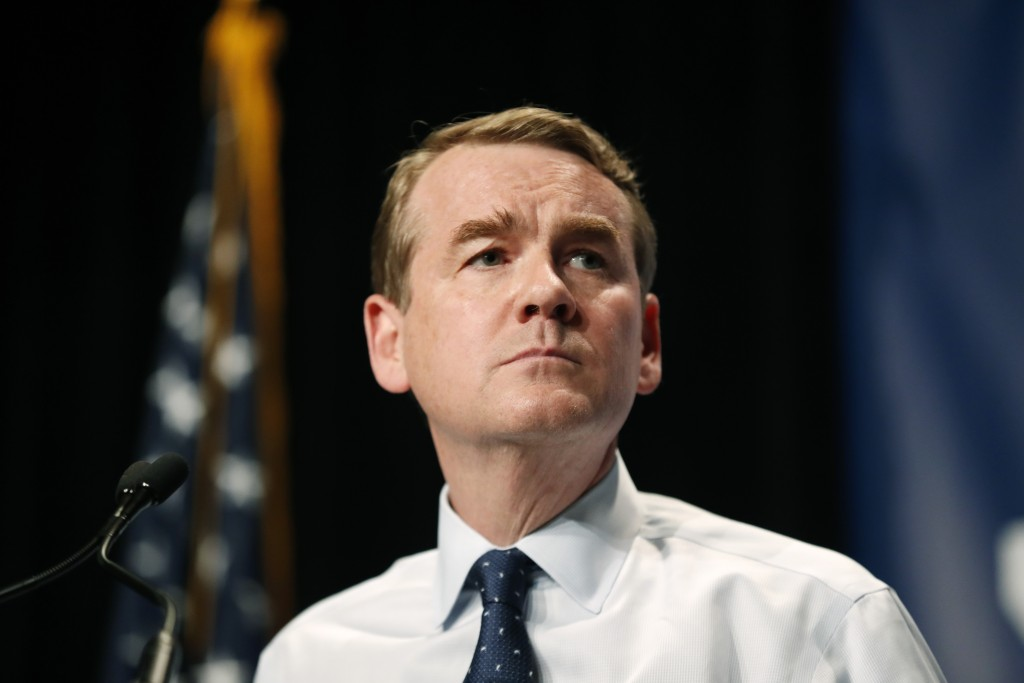 Democratic presidential candidate Michael Bennet speaks during the Iowa Democratic Party's Hall of Fame Celebration, Sunday, June 9, 2019, in Cedar Ra...