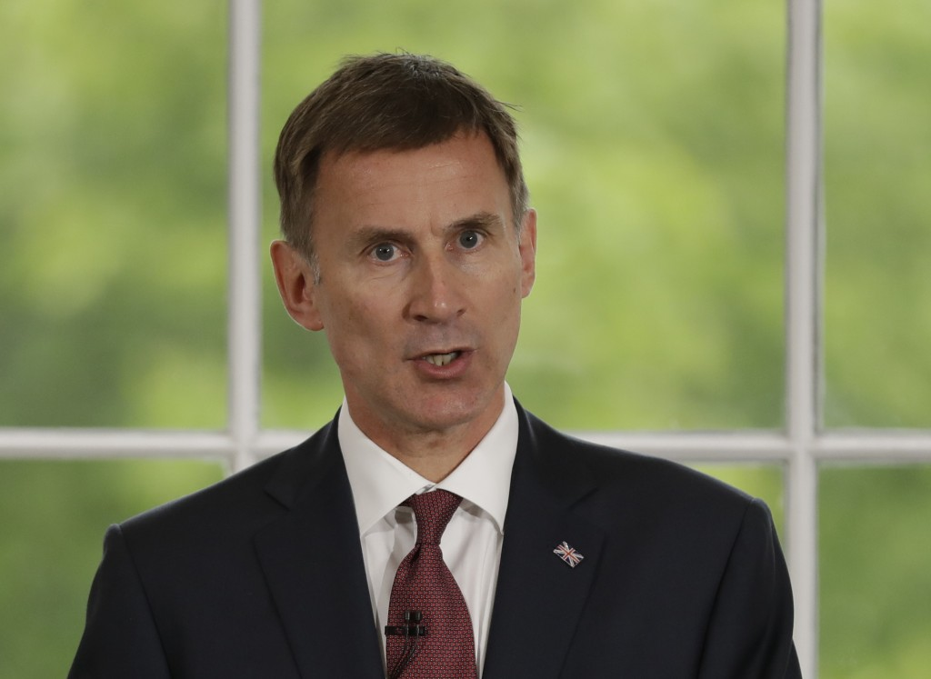 Britain's Foreign Secretary Jeremy Hunt launches his leadership campaign for the Conservative Party in London, Monday June 10, 2019. British Prime Min...