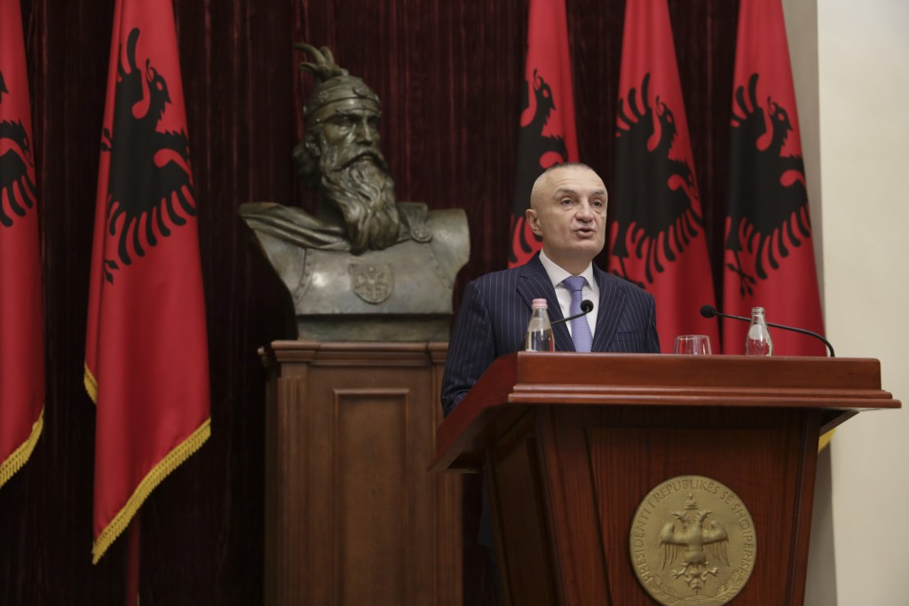 Albanian President Ilir Meta speaks during a news conference in capital Tirana, Albania on Monday June 10, 2019. Albania's president says he has cance