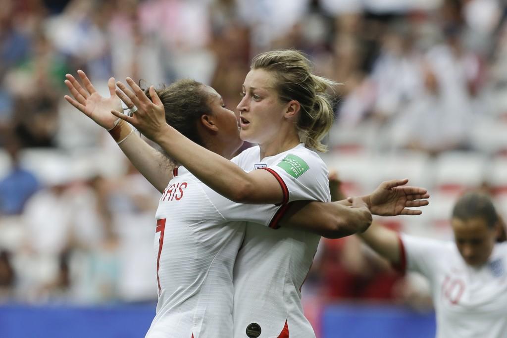 England's Ellen White, right, celebrates with Engl...