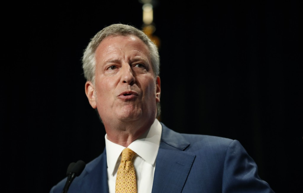 Democratic presidential candidate Bill de Blasio speaks during the Iowa Democratic Party's Hall of Fame Celebration, Sunday, June 9, 2019, in Cedar Ra...