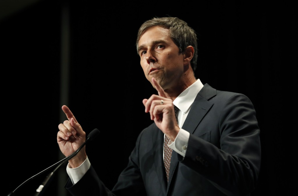 Democratic presidential candidate Beto O'Rourke speaks during the Iowa Democratic Party's Hall of Fame Celebration, Sunday, June 9, 2019, in Cedar Rap...