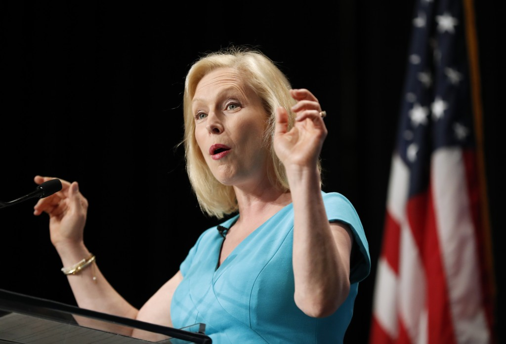 Democratic presidential candidate Kirsten Gillibrand speaks during the Iowa Democratic Party's Hall of Fame Celebration, Sunday, June 9, 2019, in Ceda...