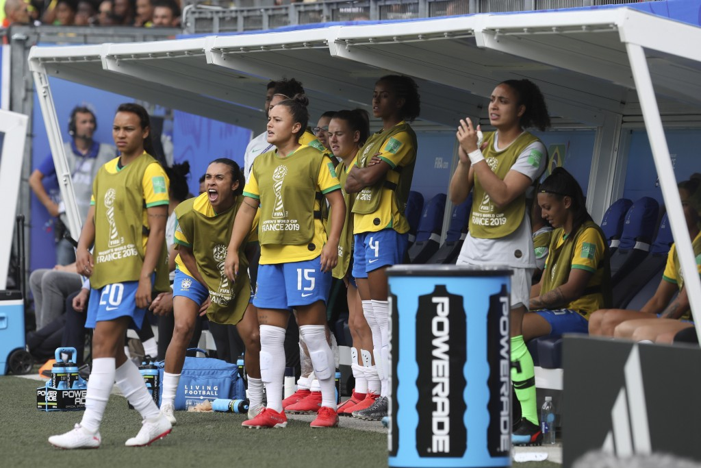 Brazil's Marta, second from left, shouts during the Women's World Cup Group C soccer match between Brazil and Jamaica in Grenoble, France, Sunday, Jun...