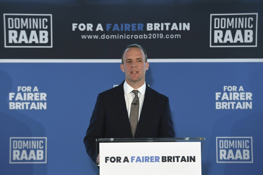 Britain's former Brexit Secretary Dominic Raab launches his campaign in the race to become Britain's next Conservative Party leader and prime minister