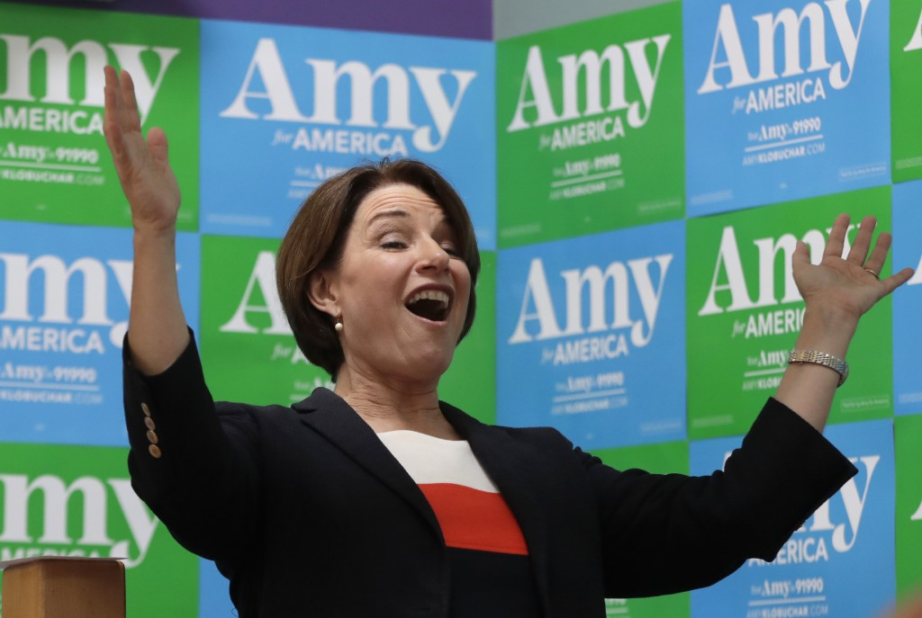 Democratic presidential candidate Sen. Amy Klobuchar, D-Minn., speaks at a campaign event, Monday, June 10, 2019, in Concord, N.H. (AP Photo/Elise Ame...