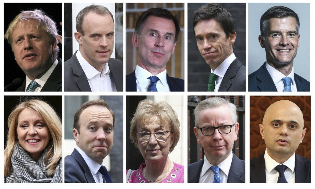 Combo group of ten file photos showing the contenders in the Conservative Party leadership race, with top row from left, Boris Johnson, Dominic Raab,