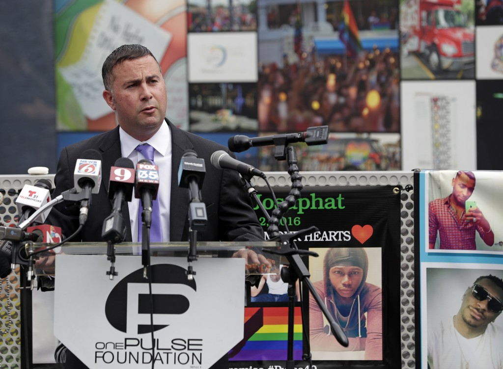 Rep. Darren Soto, D-Fla. makes comments during a news conference to introduce legislation that would designate the Pulse nightclub site as a national