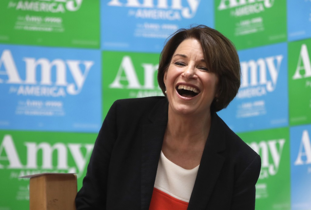 Democratic presidential candidate Sen. Amy Klobuchar, D-Minn., laughs at a campaign event, Monday, June 10, 2019, in Concord, N.H. (AP Photo/Elise Ame