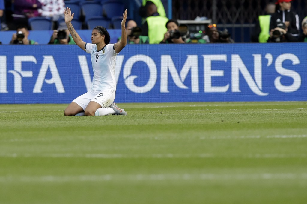 Argentina's Sole Jaimes gestures at the end of the Women's World Cup Group D soccer match between Argentina and Japan at the Parc des Princes in Paris