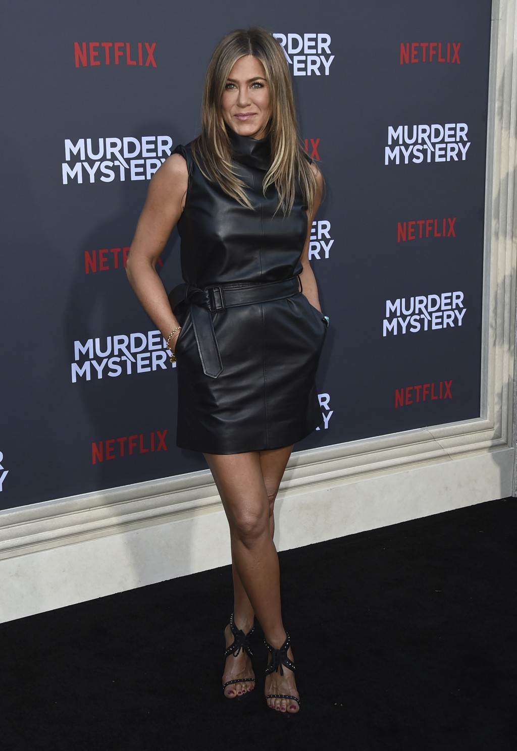 """Cast member Jennifer Aniston arrives at the Los Angeles premiere of """"Murder Mystery"""" at the Regency Village Theatre on Monday, June 10, 2019 in Westwo"""