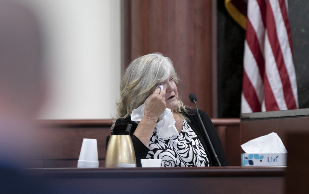 Tim Jones' grandmother, Roberta Thornsberry, wipes here eyes while testifying during the sentencing phase of the trial of Tim Jones, Jr. in Lexington,...