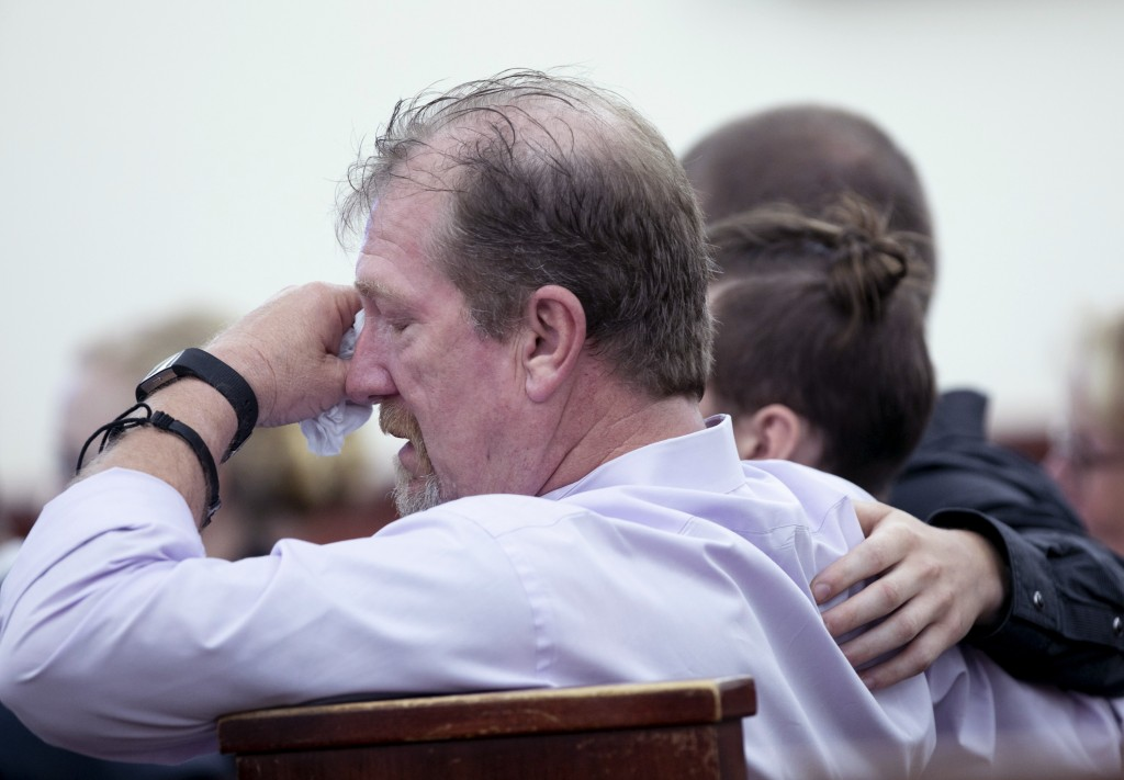 Tim Jones, Sr., listens to testimony during the sentencing phase of the trial of his son, Tim Jones, Jr. in Lexington, S.C., Monday, June 10, 2019. Ti