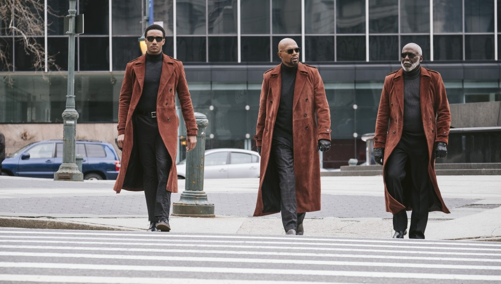 """This image released by Warner Bros. Pictures shows from left, Jessie Usher, Samuel Jackson and Richard Roundtree in a scene from """"Shaft.""""  (Kyle Kapla"""