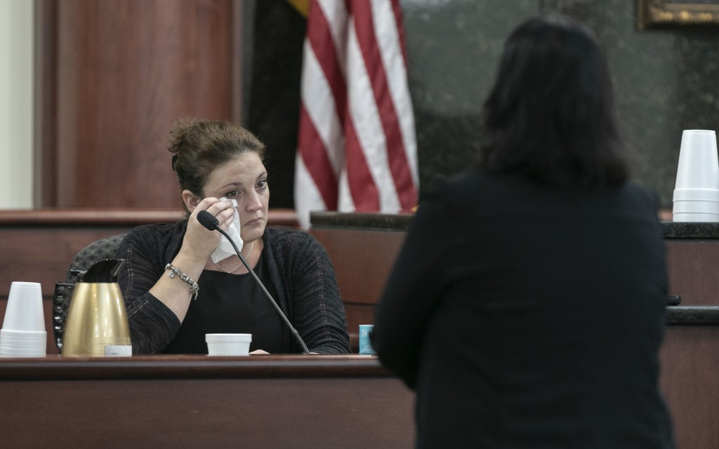 Amber Kyzer, mother of five children who were killed by their father, is questioned by 11th Circuit deputy Solicitor Suzanne Mayes during the sentenci