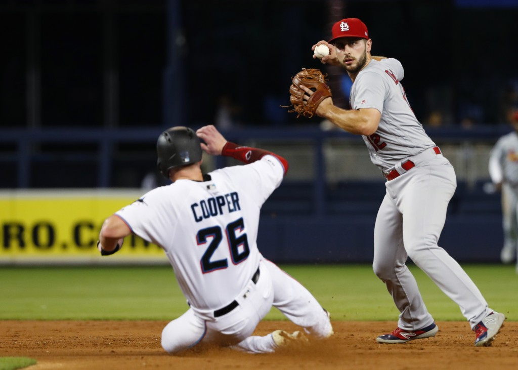 St. Louis Cardinals shortstop Paul DeJong, right, throws to first after forcing out Miami Marlins' Garrett Cooper (26) during the third inning of a ba